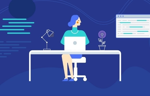 a girl working in the office with blue background | What Is SEO? | Keyword Rich Editing to Optimize Your Listing